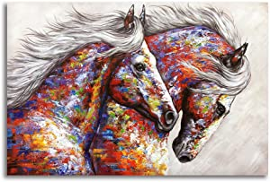 Animal Framed Wall Art for Living Room Bedroom Home Decor Colorful Two Running Horses Prints and Posters Canvas Painting Horse Pictures for Walls Ready to Hang (16x24in, Multi)