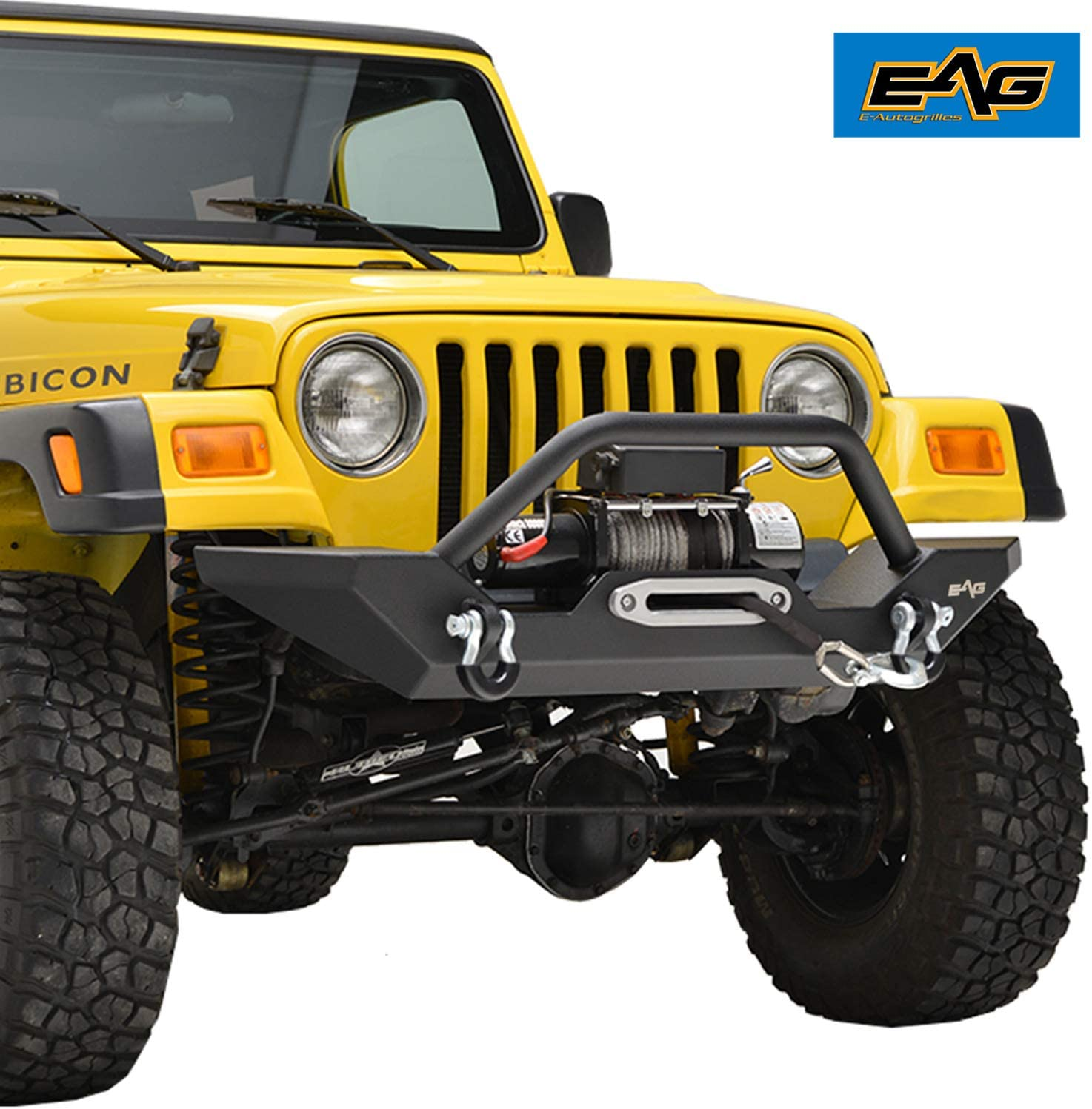EAG Front Bumper with LED Lights and Light Surrounds Fit for 87-06 Jeep Wrangler TJ//YJ