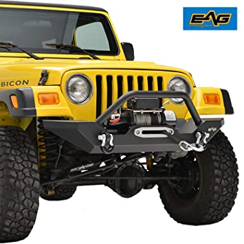 Jeep Wrangler Off Road >> Eag Steel Front Bumper With Winch Plate Black Textured Fit For 87 06 Jeep Wrangler Tj Yj