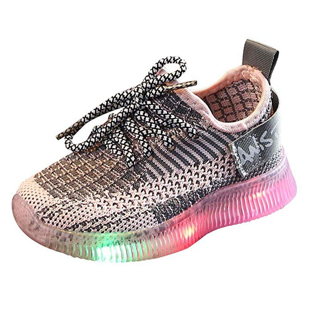 Toddler Baby Boys Girls Soft Casual Knit Sneakers, LED Light Up Flashing Shoes Comfortable Footwear for Little Kid Pink by KINGLEN Baby shoes