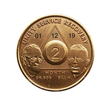Recovery coins AA 12 Year Bronze Bill /& Bob Medallion Tokens Sobriety Birthday