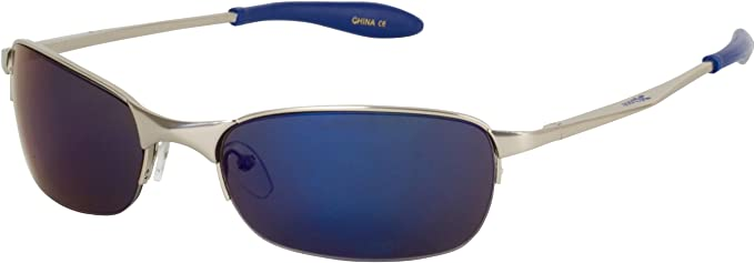 111x8 Comfort Fit Wrap Style Sunglasses for Summer Outdoor Sports - Chrome Frame - Blue Flash