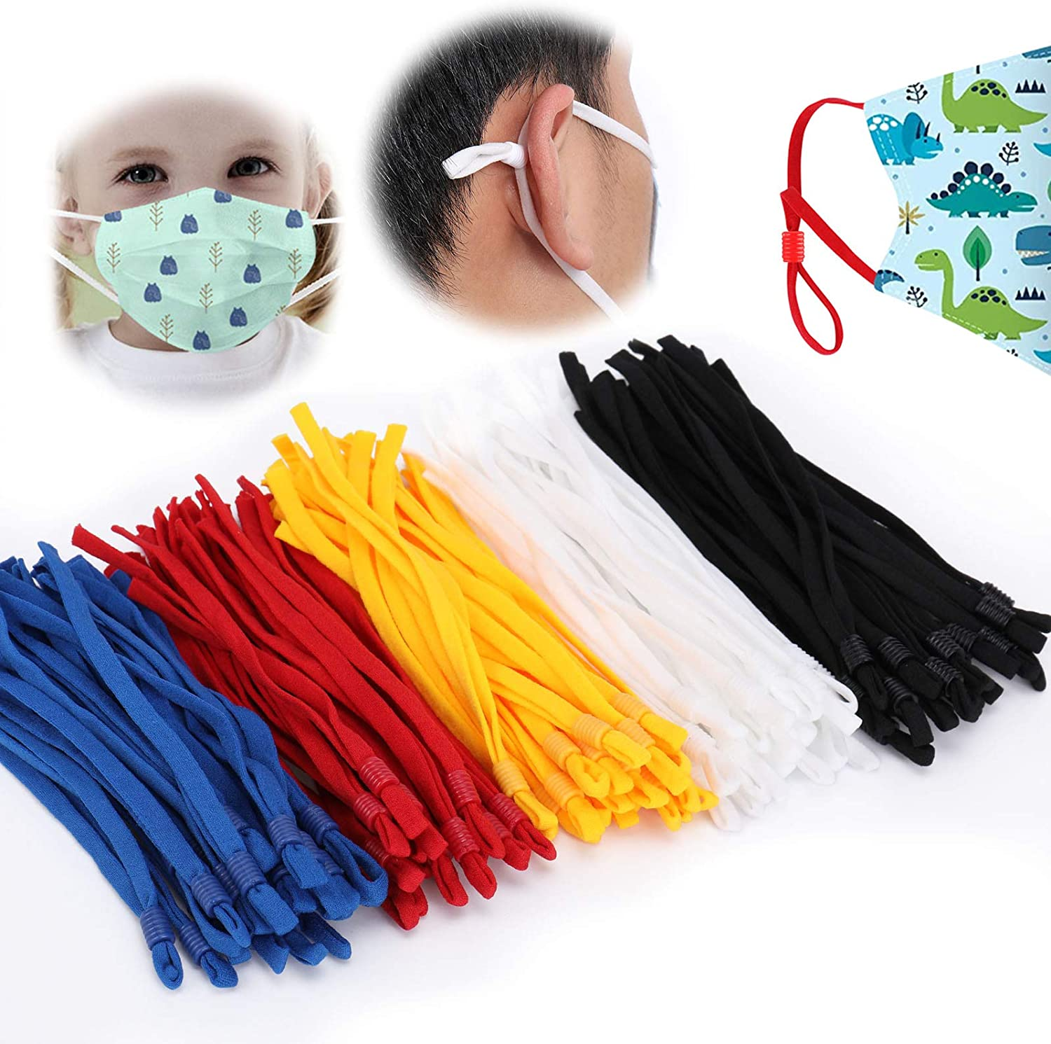 TOOVREN 100 Pieces Sewing Elastic Cord with Adjustable Buckle Stretchy Face Cover Earloop Elastic String//Elastic Band for Mask DIY Making-Black