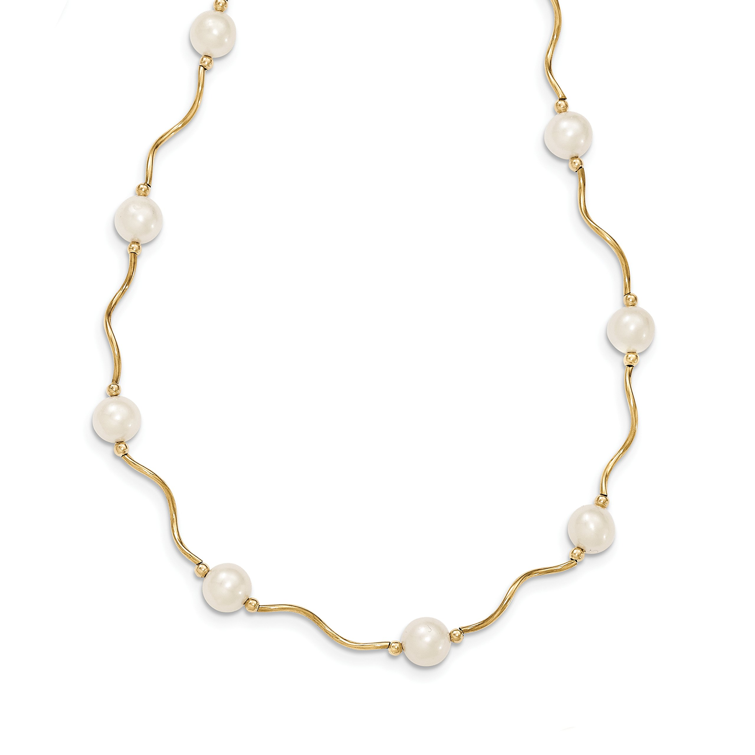 ICE CARATS 14k Yellow Gold Curved Bead 7mm White Freshwater Cultured Pearl Chain Necklace Fine Jewelry Gift Set For Women Heart