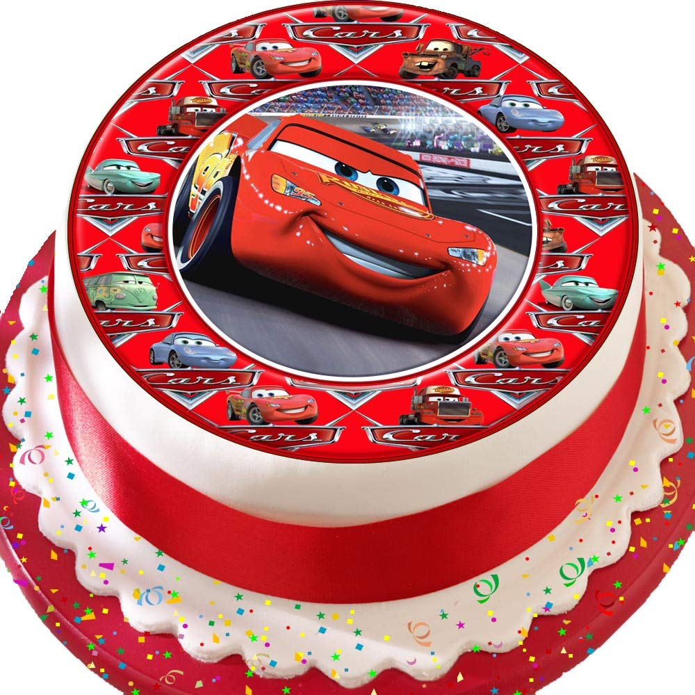 Terrific Cars Lightening Mcqueen Cars Border Birthday Precut Edible Icing Funny Birthday Cards Online Elaedamsfinfo