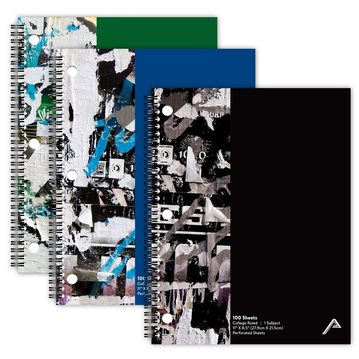 """Viva Activa Creative College Ruled Spiral Notebook, 1 Subject, 100 Pages, 8.5"""" x 11"""", Graffiti Design, 3 Pack (Black, Blue, Green)"""