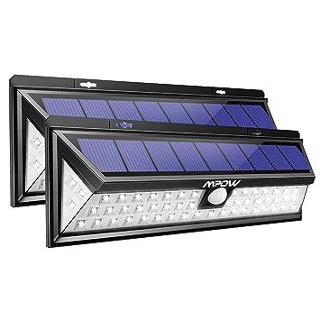 Mpow Foco Solar Exterior, Luz Solar Jardín 54 LED, Gran Ángulo 120°, Impermeable, Proporcionar hasta 12 HORAS con 3 Modos y Sensor de Movimiento para ...