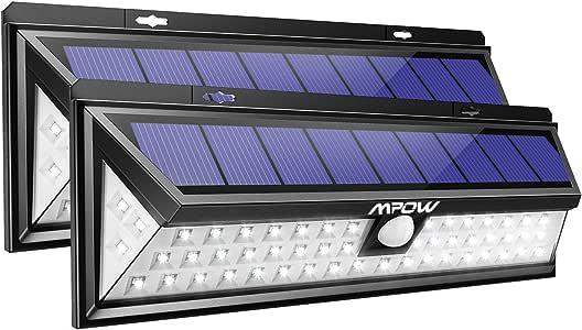 Mpow Foco Solar Exterior, Luz Solar Jardín 54 LED, Gran Ángulo 120°, Impermeable, Proporcionar hasta 12 HORAS con 3 Modos y Sensor de Movimiento para Jardín, Patio, Garaje, Camino, 2 Piezas: Amazon.es: Hogar