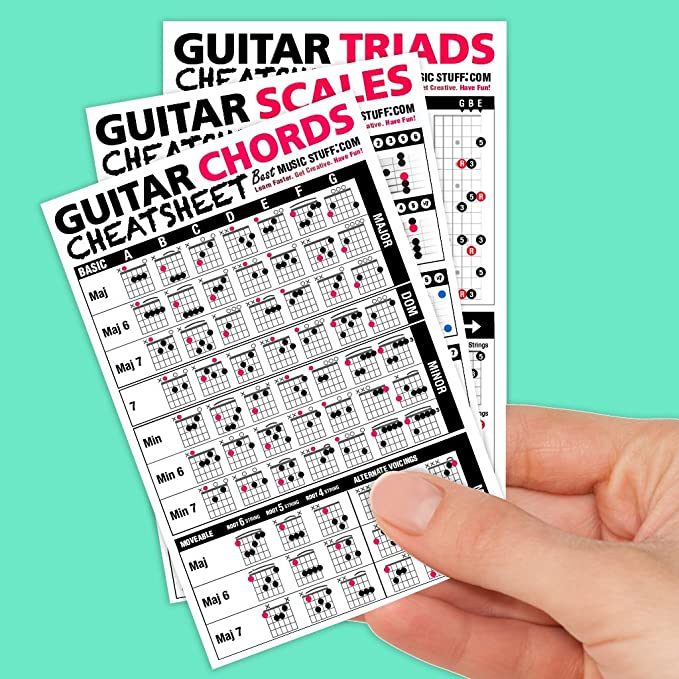 Best Music Stuff Guitarra Cheatsheets Bundle (acordes, escalas, y ...
