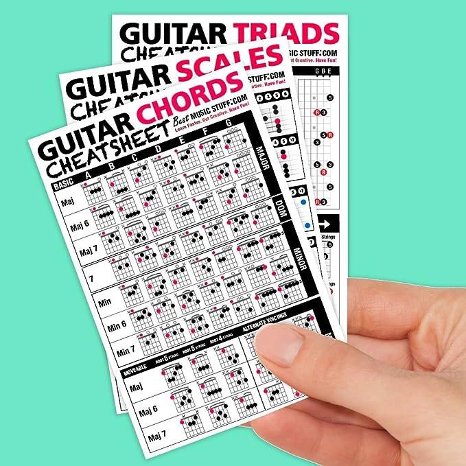 Amazon.com: Guitar Cheatsheets Bundle (Chords, Scales, and Triads ...