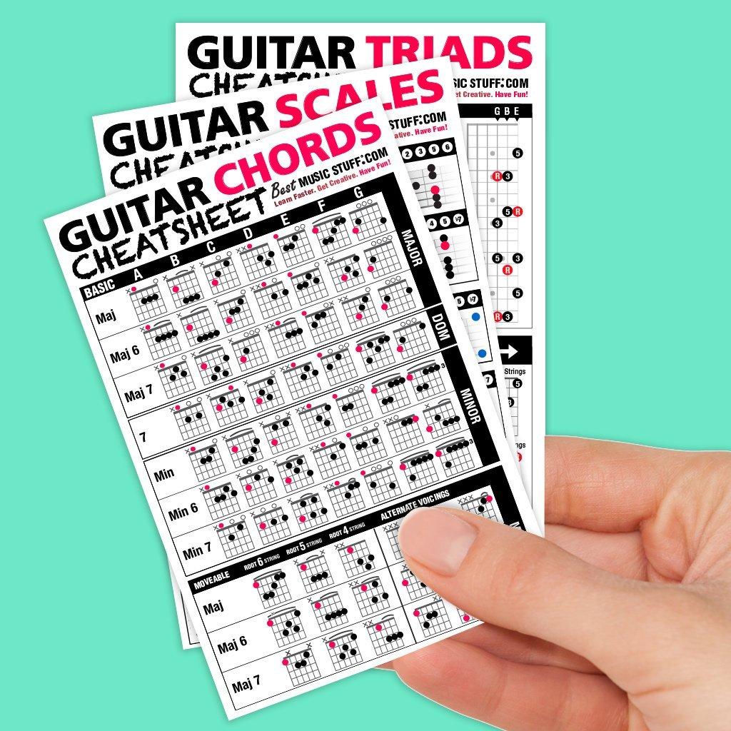 Guitar Cheatsheets Bundle (Chords, Scales, and Triads Cheatsheet 3 Pack  Laminated Pocket Reference 4''x6''