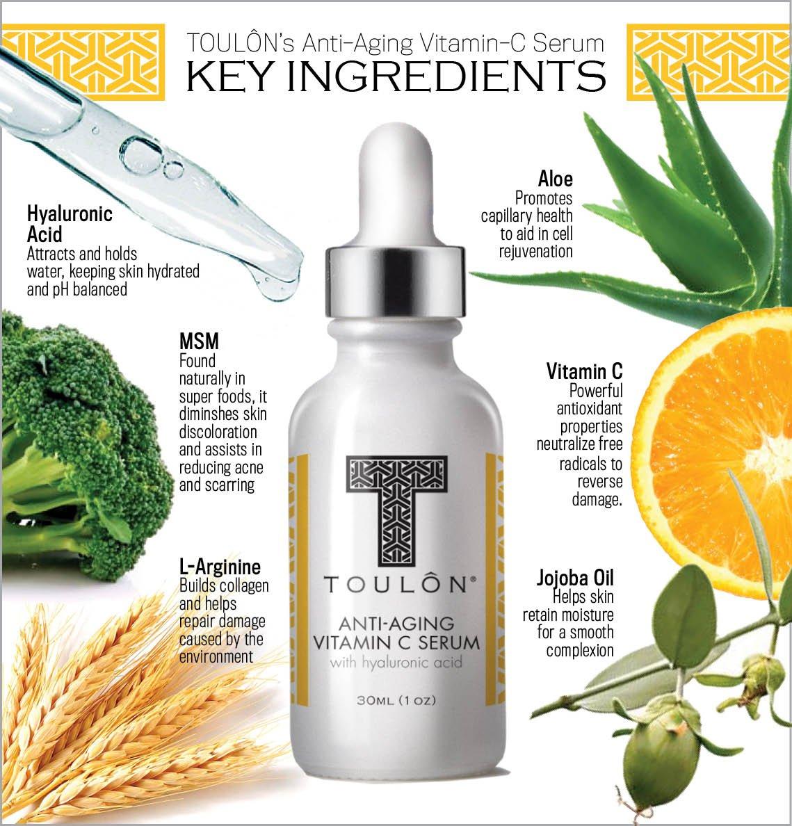 Vitamina C sérum con ácido hialurónico para cara: reduce arrugas y manchas por el sol; natural y orgánico: Amazon.es: Belleza