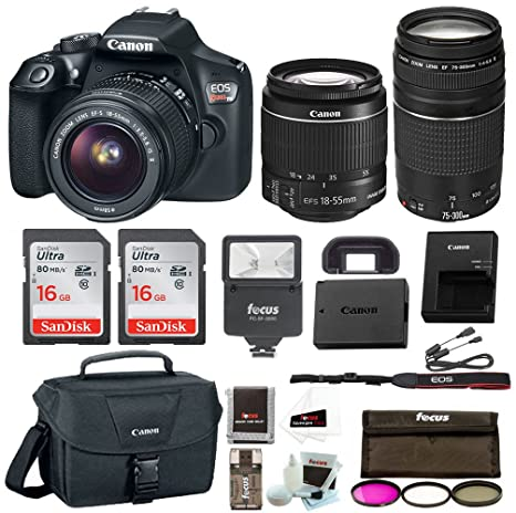 Canon EOS Rebel T6 Digital Camera: 18 Megapixel 1080p HD Video DSLR Bundle  with 18-55mm &75-300mm Lenses 32GB (2 x 16GBSD Card) Flash Filter Kit & Bag