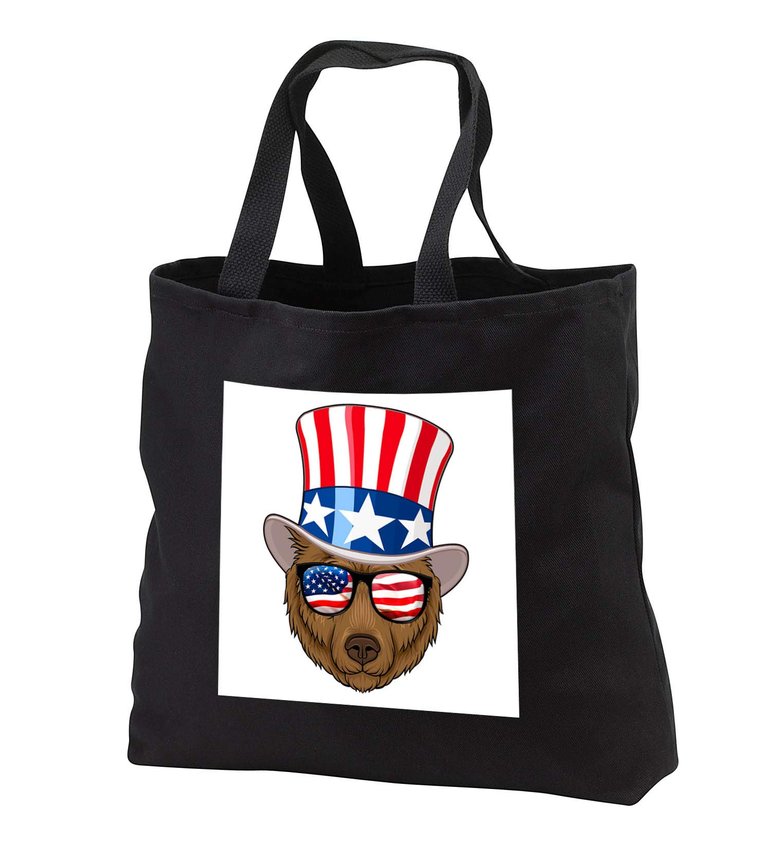 Carsten Reisinger - Illustrations - Patriotic Panda with top hat and sunglasses with the American flag - Tote Bags - Black Tote Bag JUMBO 20w x 15h x 5d (tb_294847_3)