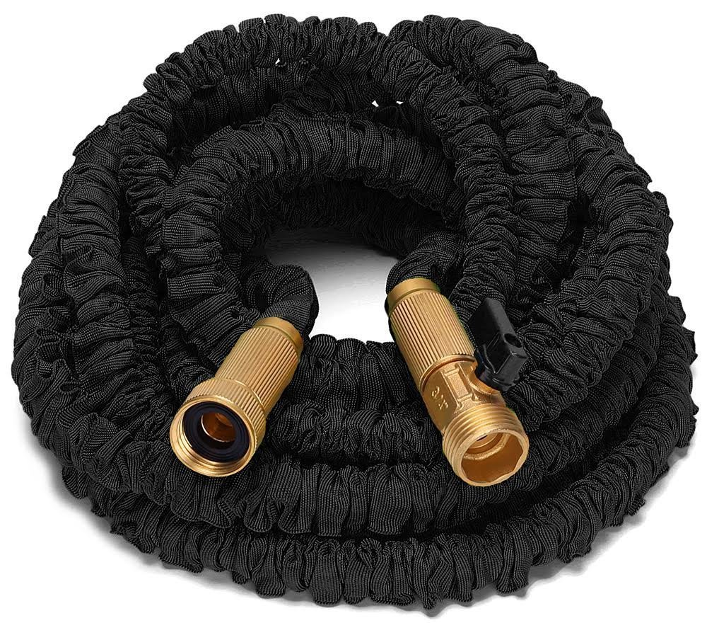 Riemex 75ft Best Expandable Garden Water Hose-TRIPLE LATEX-TOP QUALITY- Brass Fittings Connectors, Flexible - for all Watering Needs (75 FT, Black)