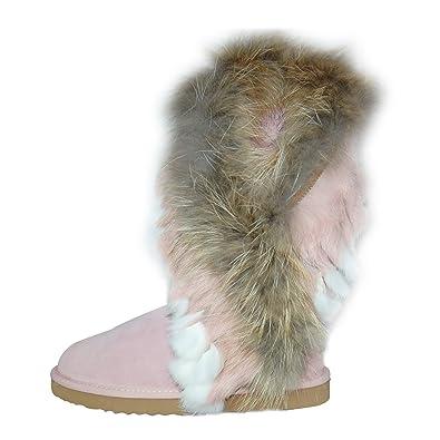 Damenschuhe Stiefel Echtleder Kunst Fell Winter Boots 36 41