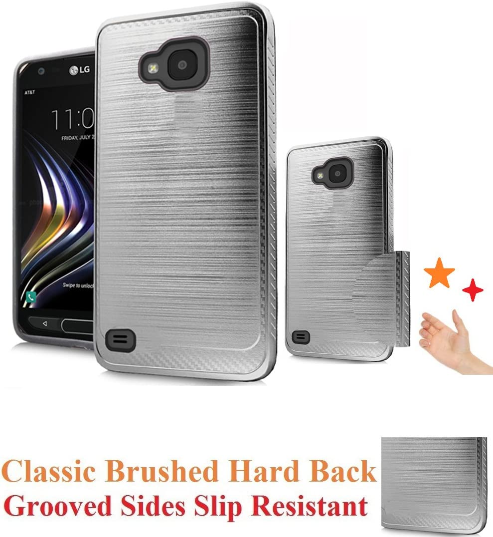"for 5.2"" LG X Venture LV9 xventure Case Phone Case Grooved Sides Firm Grip Brushed Hard Back Hybrid Slim Shock Bumper Cover (Silver)"