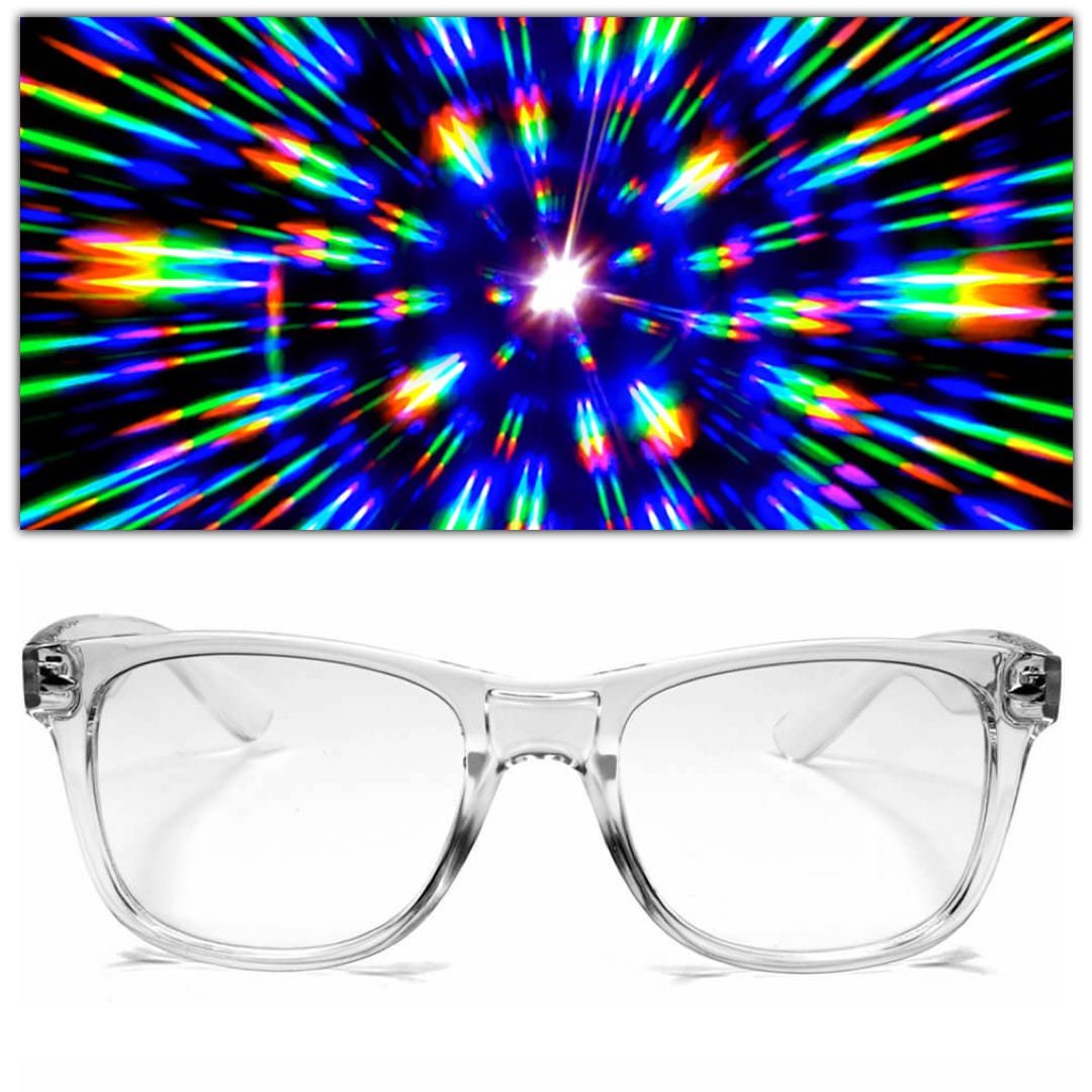 GloFX Ultimate Diffraction Firework Glasses - Clear Prism Light Diffracting