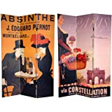 Oriental Furniture 6 ft. Tall Double Sided Absinthe Canvas Room Divider