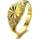 Opk Anillo de tamaño ajustable para mujer, chapado en oro de 18k, incluye un diamante tallado, ideal como anillo de boda, color dorado amarillo