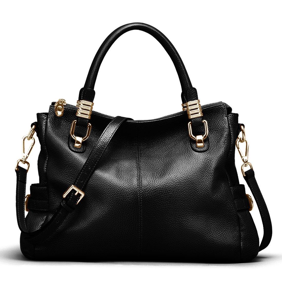 5a5e6836321b Amazon.com  AINIMOER Womens Genuine Leather Vintage Tote Shoulder Bag  Top-handle Crossbody Handbags Large Capacity Ladies  Purse (Black)  Shoes