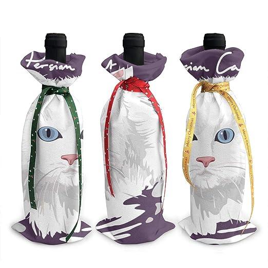 Pérsico gato pintura póster Navidad vino bolsas de regalo botella ...