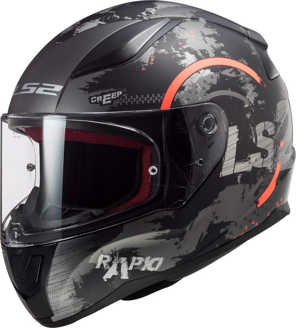 LS2 Rapid Circle Casco de Moto, Hombre, Naranja, M
