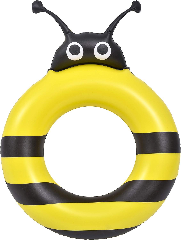 Jilong Bee Swim Ring Anillo Salvavidas Hinchable con Forma de Abeja, Unisex niños, Amarillo y Negro, 70x50cm