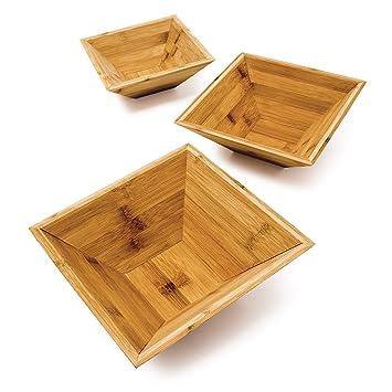 Amazon De Relaxdays Bambus Schalen Im 3er Set Als Schicke