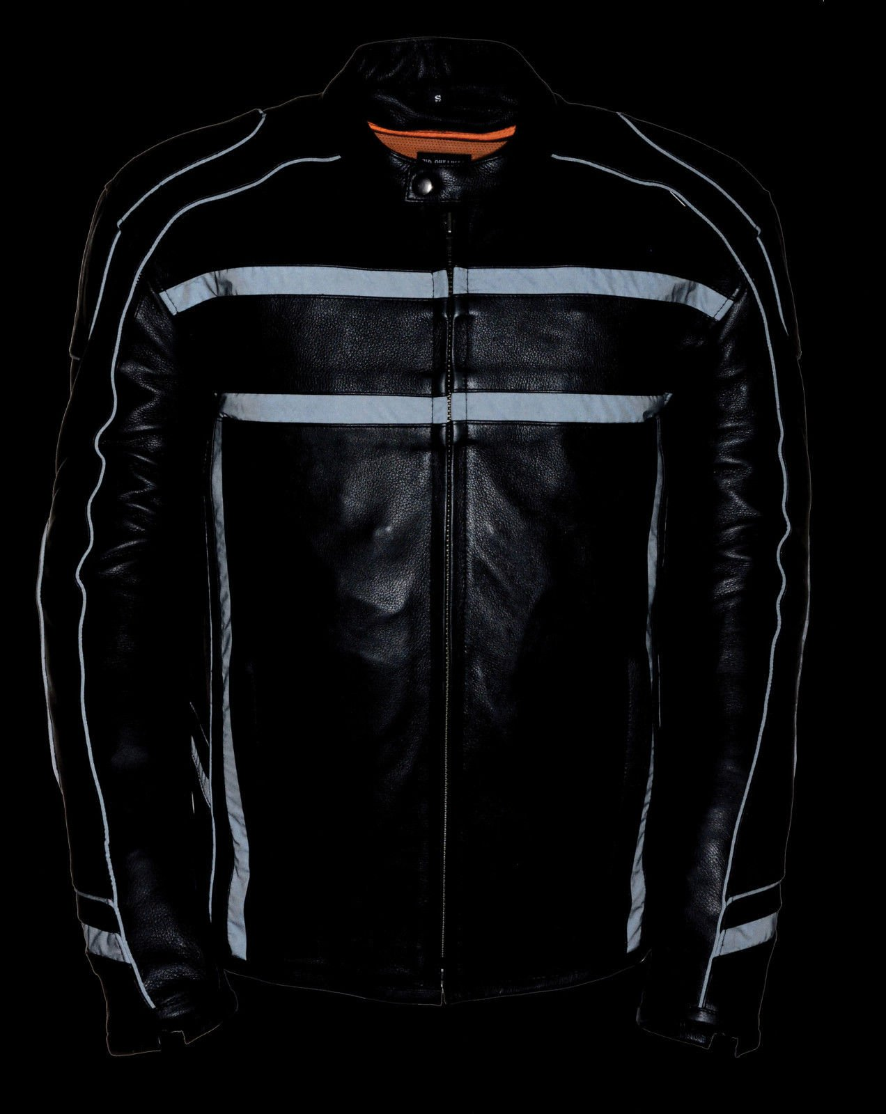 MEN'S MOTORCYCLE REFLECTIVE STRIPE SCOOTER COW LEATHER VENTS JACKET SIDE STRETCH (2XL Regular) by Milwaukee (Image #2)