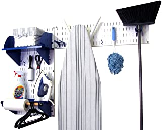 product image for Wall Control Laundry Room Organizer Wall Mounted Laundry Room Storage and Organization Standard Kit White Wall Panels and Blue Accessories