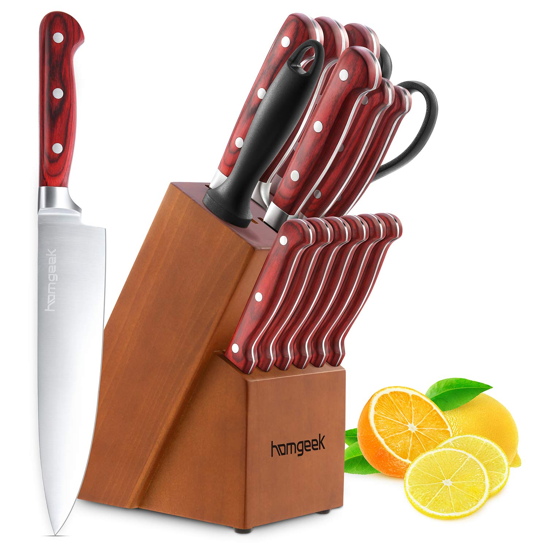 homgeek Cuchillos de Cocina, Juego de Cuchillos Profesional Hecho de Acero alemán X50Cr15 Incluye Bloque de Madera, Afilador de Cuchillos, Tijeras, 15 Piezas product image
