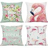 Hoomall Sofa Kissenhülle Set gedruckt Leinen Baumwoll Kopfkissenbezug Kissenbezug Kuschelkissenhülle für Hauptdekoration Auto Zubehör 45x45cm Flamingo Muster