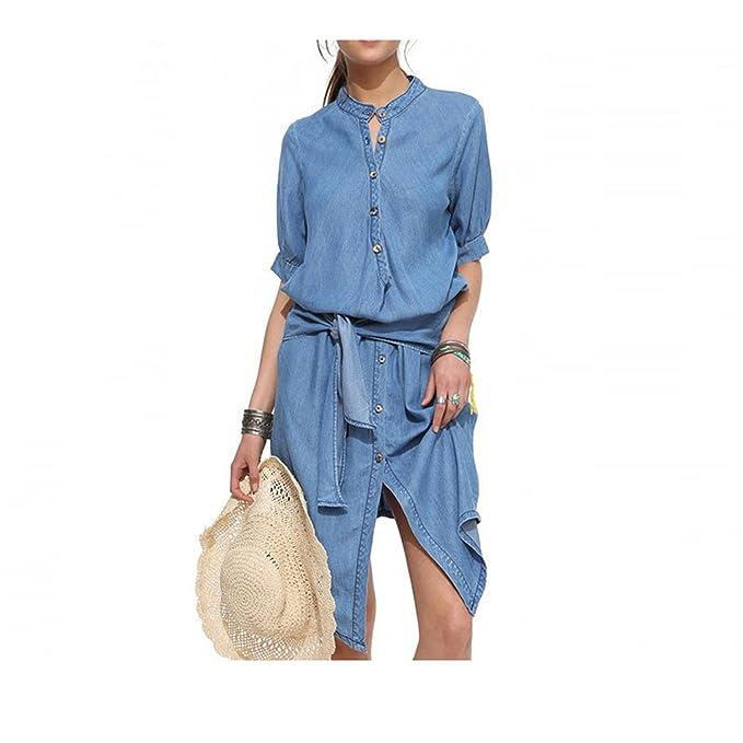 Amazon.com: Beautifullight Great,Good looking Summer Jeans Dress Belt Solid Casual Irregular Loose Blue Denim Shirt Dress Big Size Denim Dresses Gown Robe ...