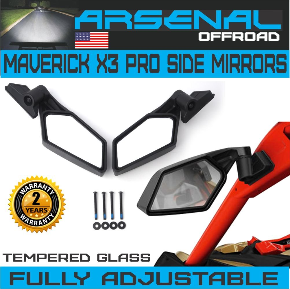 UTV Can Am X3 Side View Mirrors Arsenal Pro Series Rear View Race Mirrors for Can Am Maverick X3 2017 2018 For Suzuki Quadracer 450 2006-2009 UTV OEM Fitment (1 Pair) Arsenal Offroad Inc.