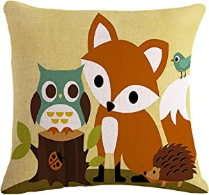 "Bnitoam The Animal Fox Owl Hedgehog Throw Pillow Case Cushion Cover Decorative Cotton Blend Linen Pillowcase for Sofa 18""X 18"" (5) ¡"