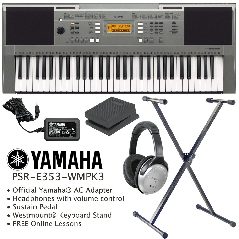 Yamaha Psr E353 Keyboard Including Official Adapter Westmount Stand Headphones Sustain Pedal And Free Online Lessons Musical
