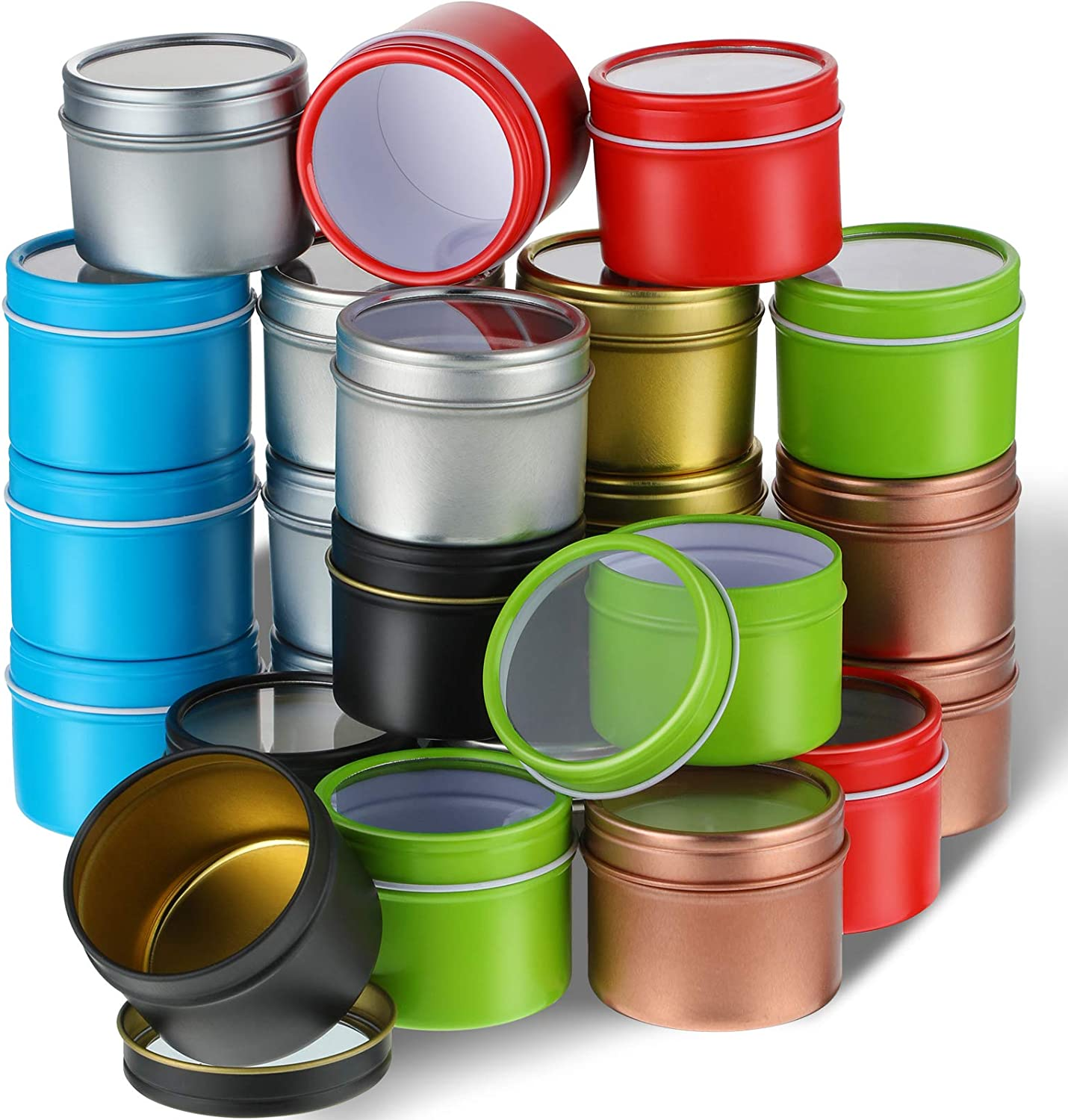 24 Pieces Candle Tins 2 oz Shallow Round Tins with Clear Window Lids Empty Candle Containers Cosmetics Tins Party Favors Tins and Food Storage Containers Metal Storage Case for DIY Candle Making