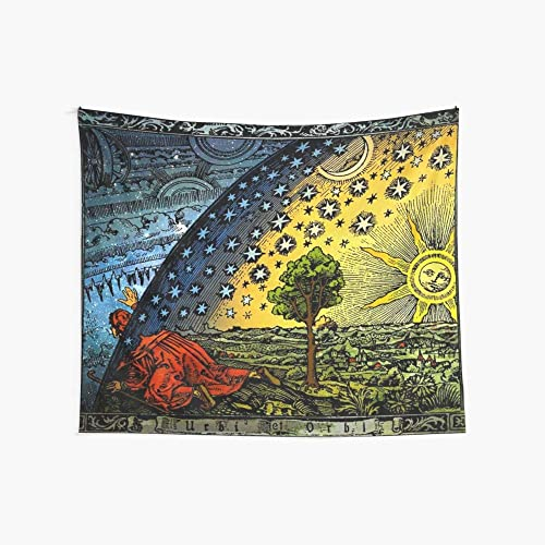 Noick Flammarion Engraving 3D Boutique Wall Tapestry Pop Art Retro Micro Microfiber Peach Peach Home Decoration 59.1X51.2 in