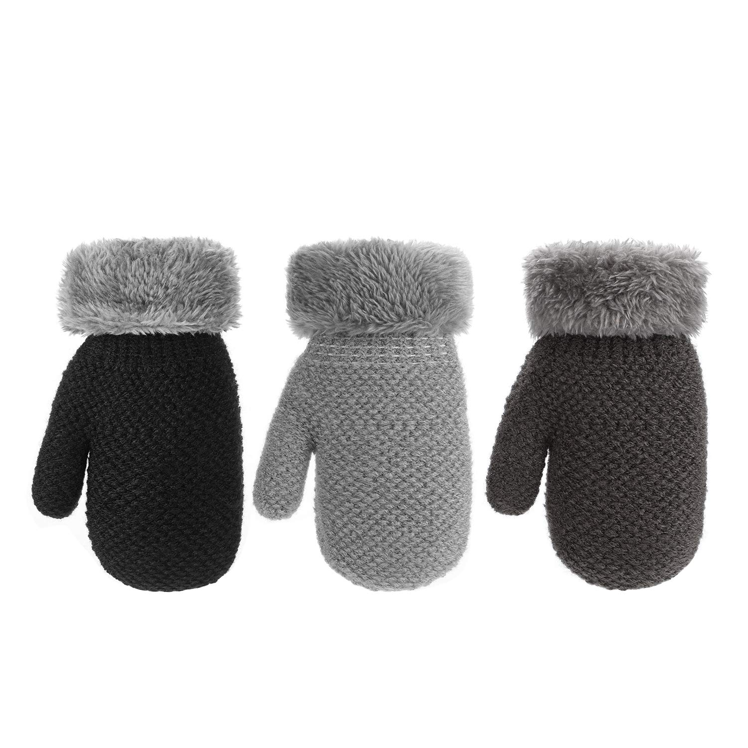 AYPOW Toddler Warm Gloves 3 Pairs Winter Kids Boys Girls Sherpa Lined Knitted Mittens