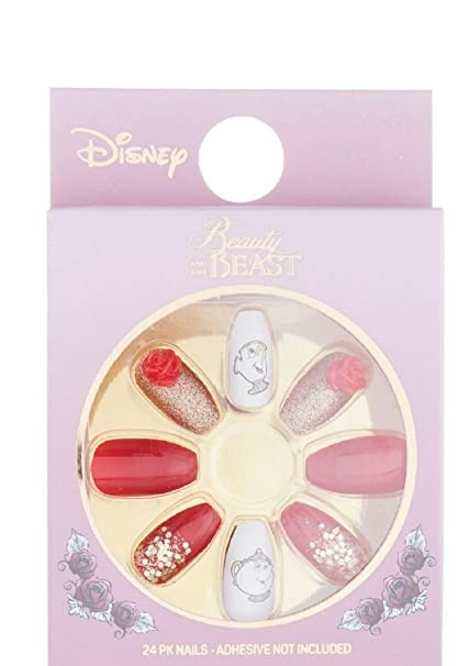 Primark Disney Beauty and the Beast Uñas Postizas Paquete de 24 Chip Sra potts ROSA