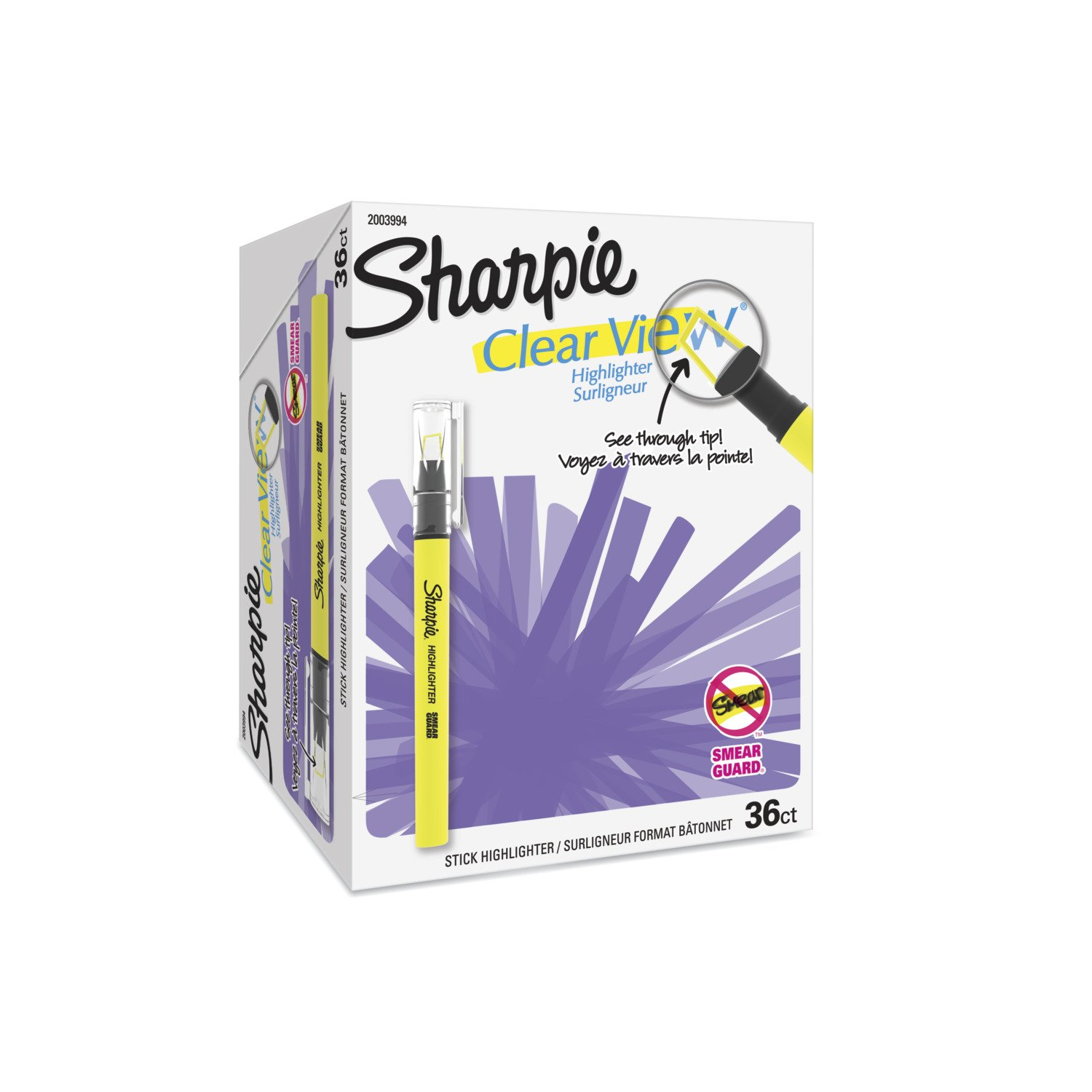 Sharpie Clear View Highlighter Stick, Chisel Tip, Assorted Fluorescent, 36 Count by Sharpie (Image #1)