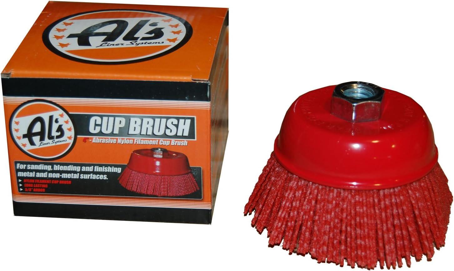 180 Grit Al/'s Liner TOOR4 4 Inch Abrasive Nylon Bristle Cup Brush 1 Pack