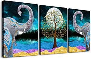 Canvas Wall Art for Living Room,farmhouse bathroom Wall decor blue abstract Animal landscape painting,modern family kitchen Bedroom Decoration elephant Canvas art pictures Artwork for home walls