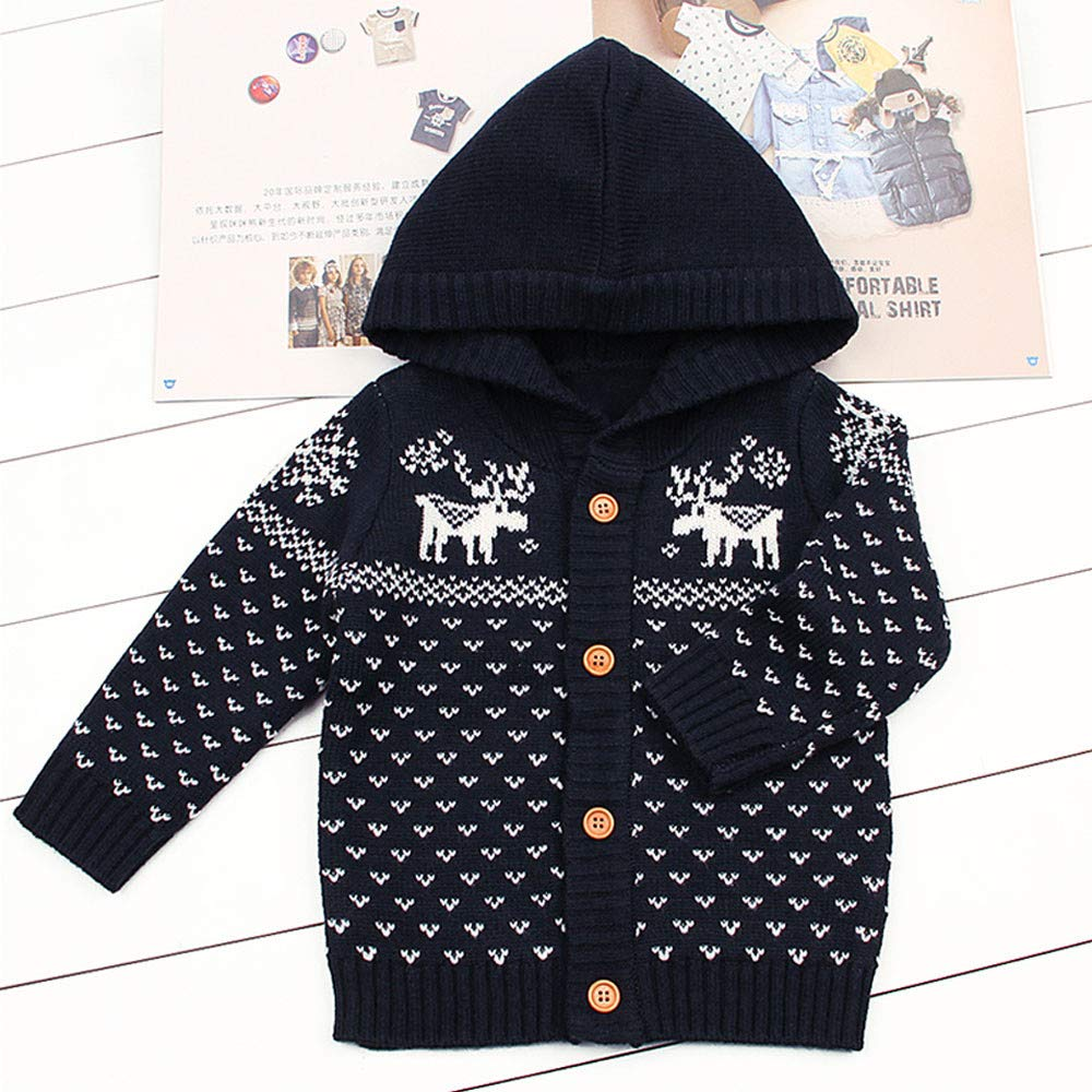 WARMSHOP Unisex Boys Girls Knitted Coat,2018 Christmas Fall Winter Warm Long Sleeve Deer Pattern Button Hooded Jacket