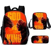Godzilla VS Kong Children's Backpacks,3-Piece Backpack Set,Kids Backpack 3D Anime Print Design Student Bag + Lunch Bag…
