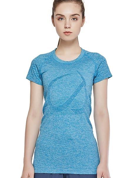 4408b919d CRZ YOGA - Camiseta de Manga Corta Ropa de Deportiva Fitness tee para Mujer:  Amazon.es: Ropa y accesorios