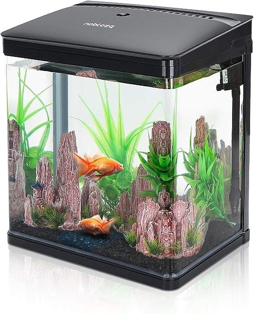 acquario nano in vetro per pesci acqua tropicali con illuminazione a led e filtro inclusa. 14 litri, nobleza b074dwjv2x