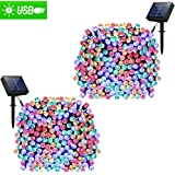 Solar Lights Outdoor 72ft 200 LED Fairy Lights, Ambiance lights for Patio, Lawn,Garden, Home, Wedding, Holiday, Christmas, Xmas Tree decoration,waterproof/Timer/USB Charge (Multi-color 2pack)