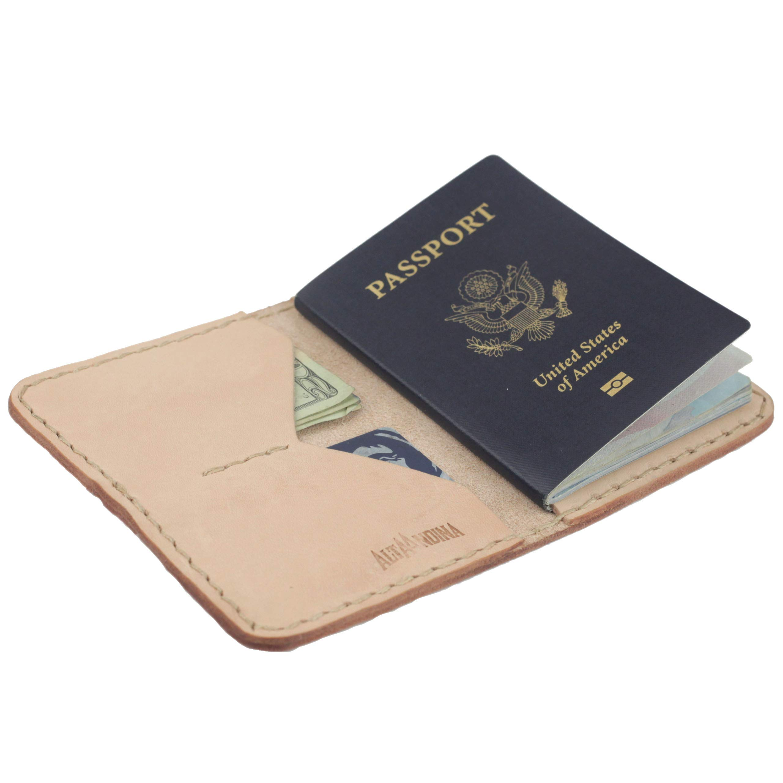 Alta Andina Leather Passport Holder | Travel Wallet w/Card Holder Slots | Full Grain, Vegetable Tanned Leather (Beige - Natural)